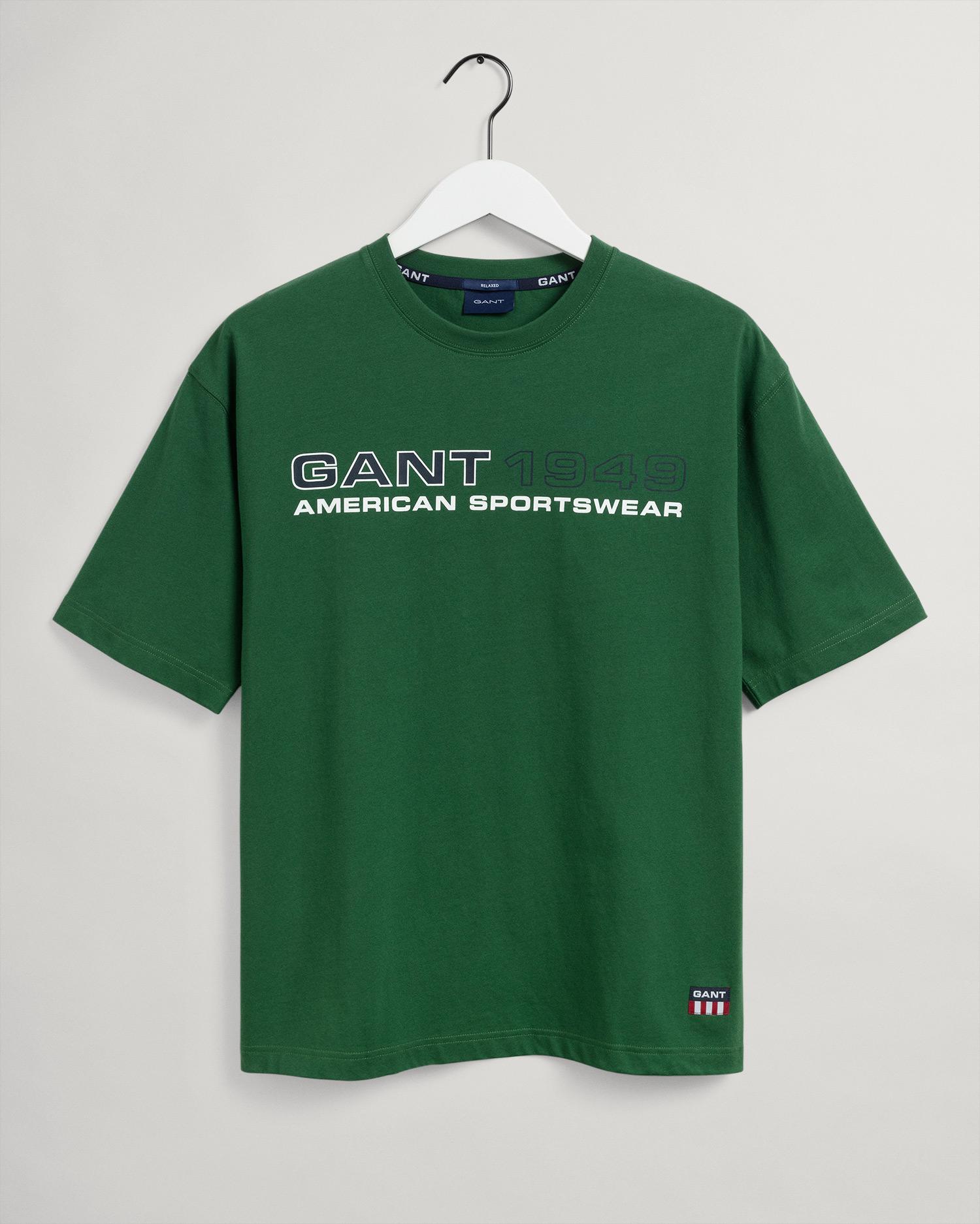 GANT męski T-shirt Relaxed Fit z logo w stylu retro - 2003114