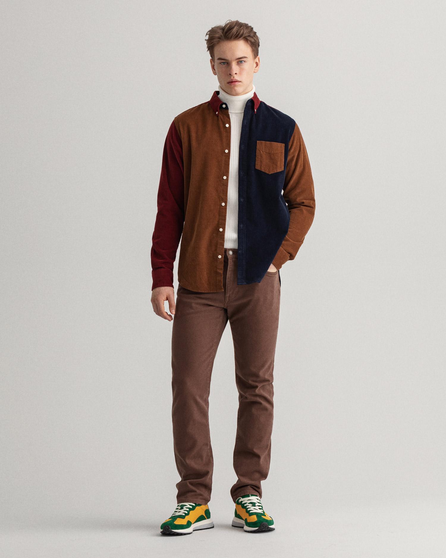 GANT męska koszula sztruksowa w kolorowe bloki Regular Fit - 3016570