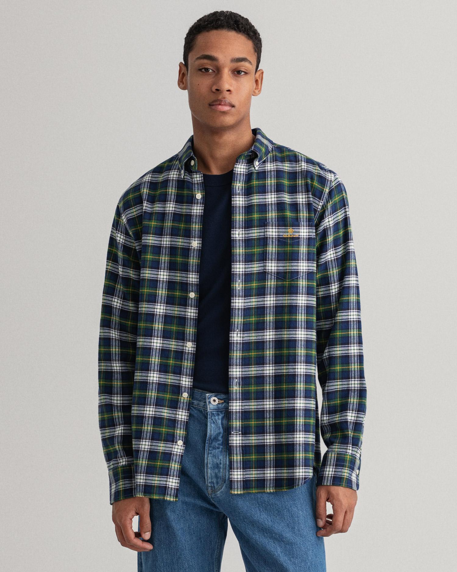 GANT męska koszula flanelowa w kratkę Regular Fit  - 3015370