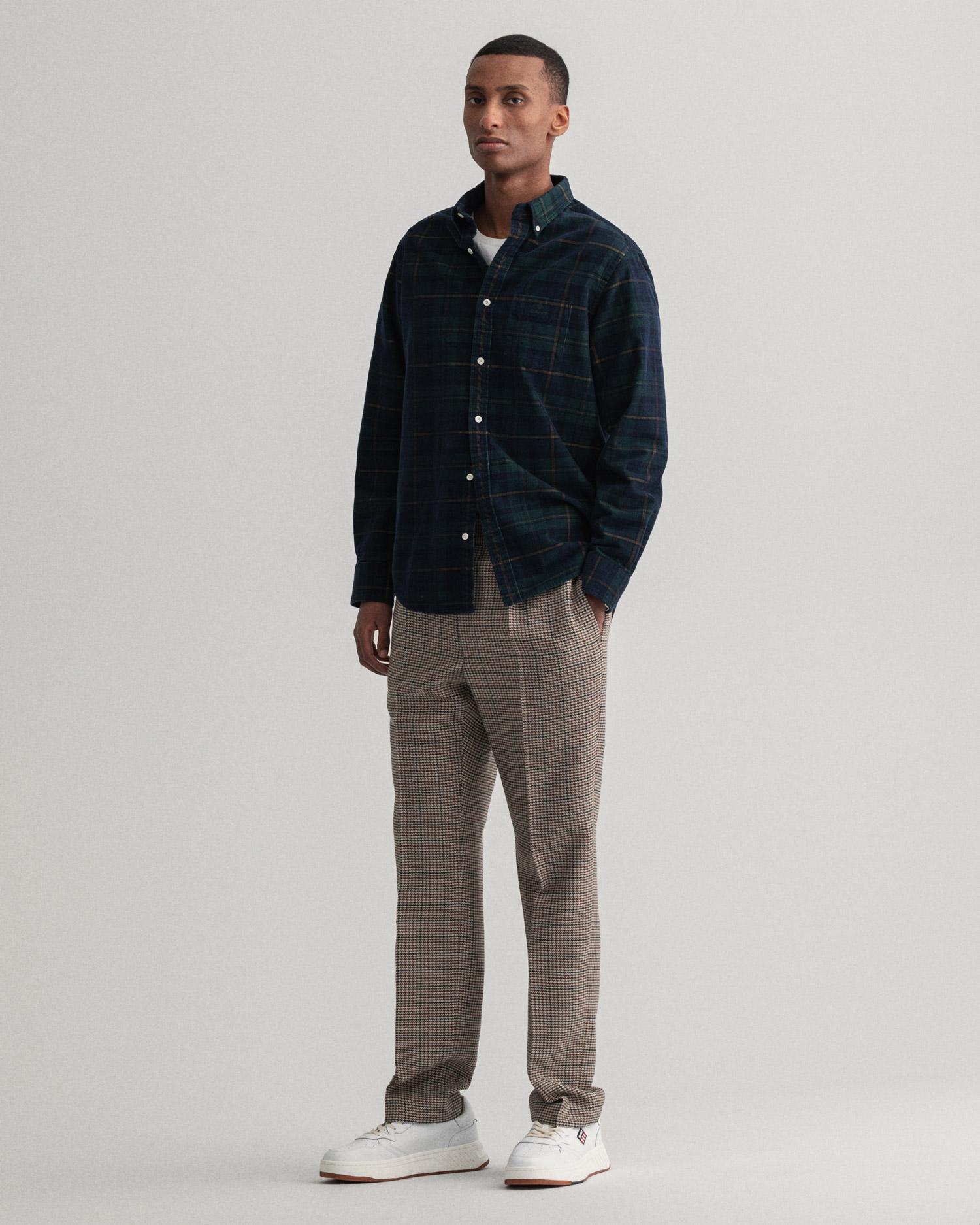 GANT męska koszula sztruksowa w kratkę Regular Fit - 3016470