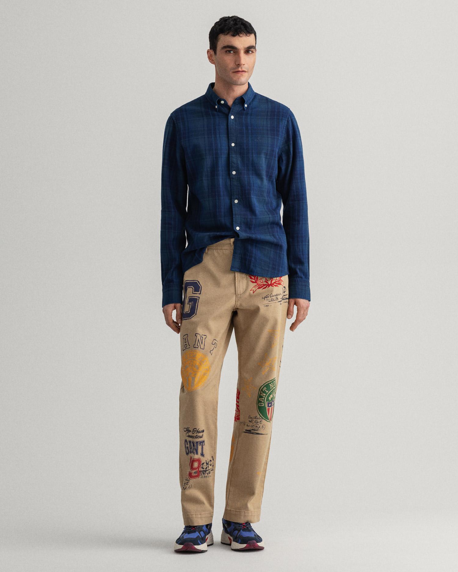 GANT męska koszula z diagonalu w kratkę przerywaną Slim Fit - 3039832