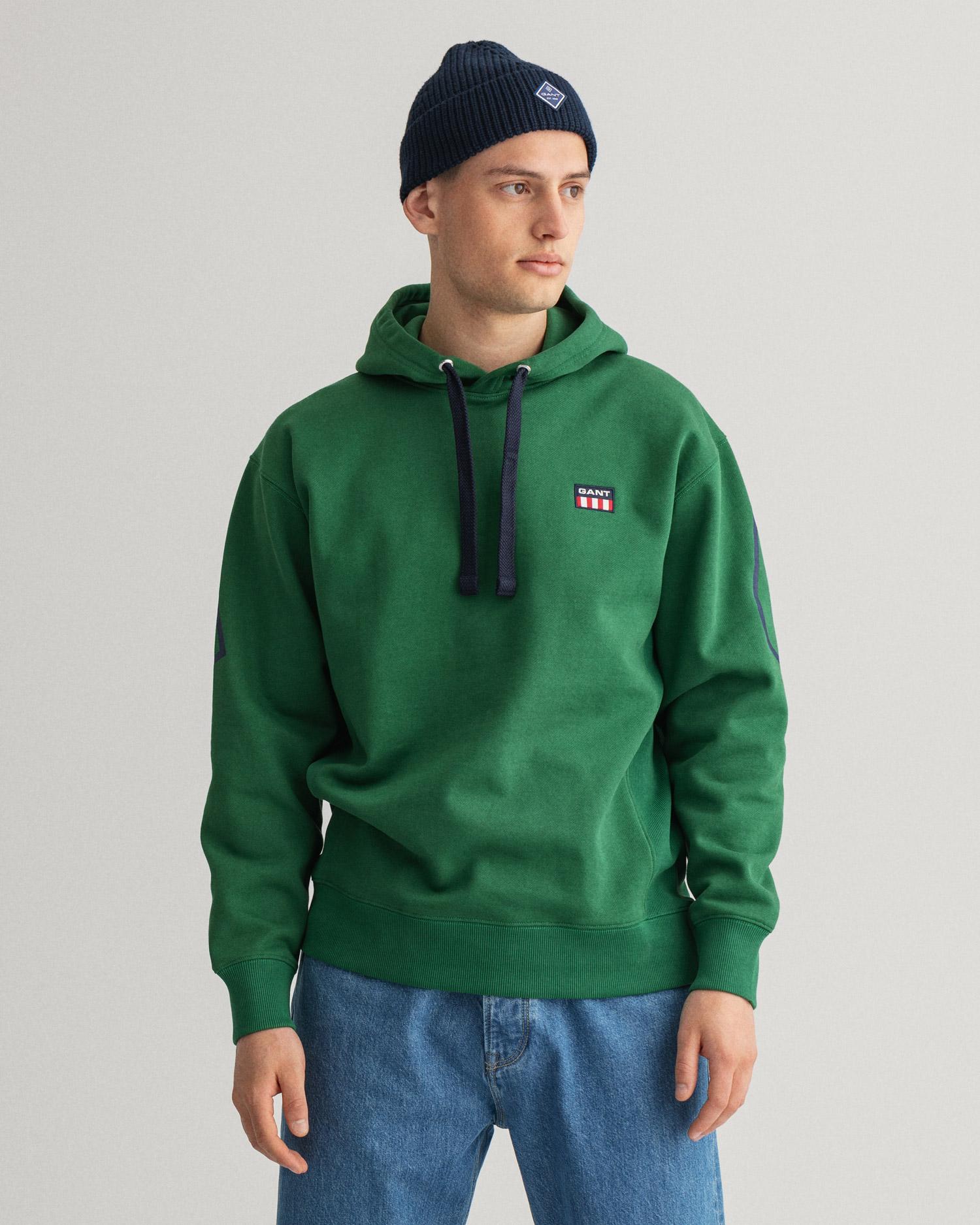 GANT męska bluza z kapturem Relaxed Fit z logo w stylu retro - 2007025