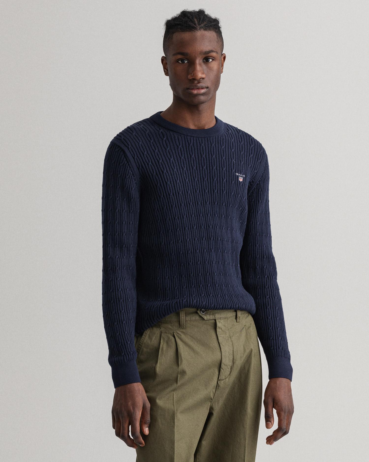 GANT męski sweter bawełniany z okrągłym dekoltem - 8030114